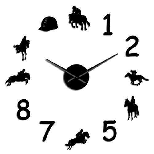 DMUEZW Equestrians Grote Wandklok Boerderij Decoración para El Hogar Vaqueros Diseño Moderno Wandklok Gigante Rodeo Paardrijden