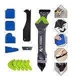 Kit de herramientas de calafateo de silicona 5 en 1 con 4 kit de herramientas de calafateo Juego de glass de vidrio Ángulo de pegamento Rapador Removedor de calafateo y raspador de sellador Conjunto d