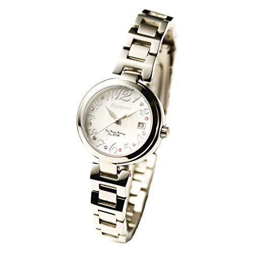 レディース腕時計 10気圧防水 10年電池ムーブ搭載 「日本製ムーブメント」 【シェル文字盤、文字盤のクリスタルが綺麗な腕時計】 カレンダー 日付 簡易ベルト調整工具付き (フォーエバー)FOREVER FL-1201-6