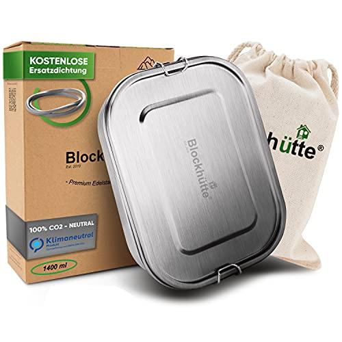 Blockhütte. Premium Edelstahl Brotdose I 1400ml I Inkl. Austauschdichtung & Trennwand. I Die verbesserte Lunchbox ist auslaufsicher. & kinderleicht zu Reinigen. I Für Kinder & Erwachsene.