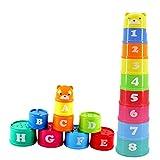 【ノーブランド品】プラスチック製 スタッキングアップ カップ 虹の色 子供 知育玩具 贈り物