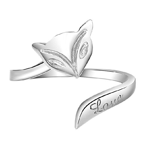 925 Sterling Silver Plated Genuine fire fox Women Open Band Ring,adjustable