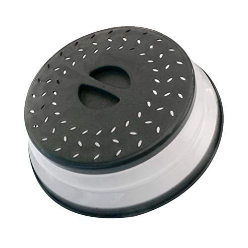 Liangzhu Rond Pliable Couvercle Anti-Éclaboussures Cloche Micro Ondes Assiettes Perforations Couverture de Protection Réutilisable Passoire de Fruits et Légumes (Noir)
