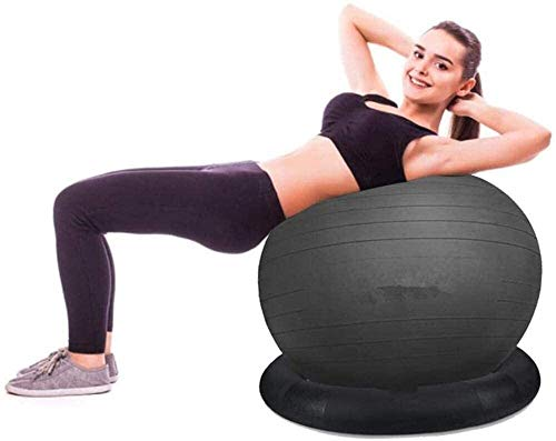 Yoga Ball Verdickung explosionsgeschützte Yoga Ball Exercise BallThickening explosionsgeschützter Fitnessball Yoga Ring Stuhl mit fester Ringbasis (schwarz in mehreren Größen optional), schwarz, 65 cm
