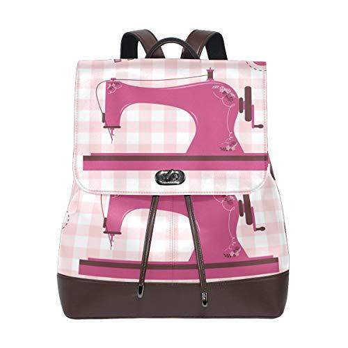 DEZIRO Pink Vintage Sewing Machine School Bag Backpack