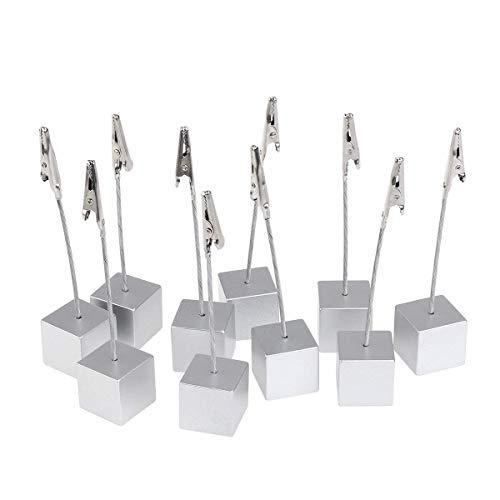 PIXNOR 10 Stk. Cube Memo Halter Card Clip Foto Büroklammern Hinweis (Silber)