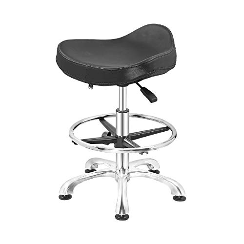 Grace & Grace Height Adjustable Swivel Stool Chair with Ergonomic Seat and Comfortable Footrest Heavy Duty Metal Base for Salon,Shop, Kitchen