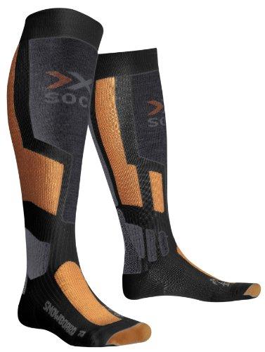 X-SOCKS Chaussettes de Snowboard fonctionnelles Unisexe Multicolore Gris Anthracite/Orange 2.5-5