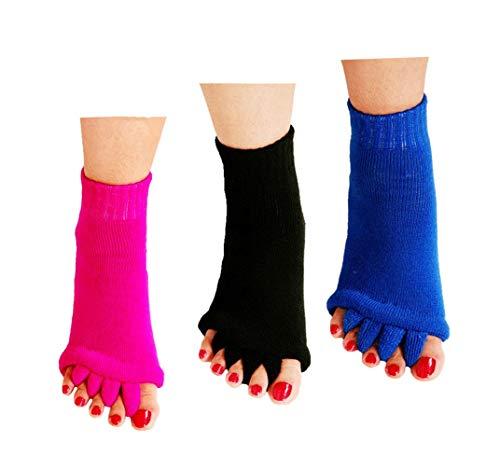 Zehentrenner Socken, 3 Paar Fußausrichtungssocken Yoga Gym Massage Toeless Socken Schmerzlinderung verbessert die Durchblutung Dehnbare Happy Feet Socken für Frauen Männer (Schwarz & Pink & Blau)