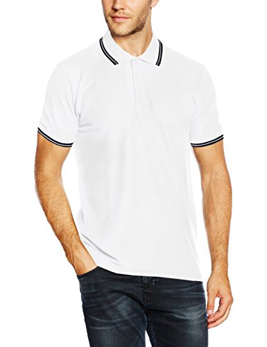 Fruit of the Loom - Pull de sport - Homme, Blanc (White/Deep Navy), Small