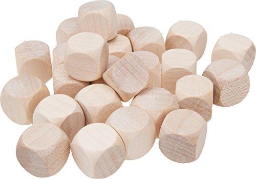 GICO 25 Stück Blankowürfel Holzwürfel blanko 16 mm Kantenlänge Natur 5964