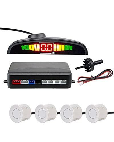 Sensor de estacionamiento Auto Parktronic Kit Pantalla LED Radar de estacionamiento automático con 4 sensores Monitor de respaldo de marcha atrás Sistema de detección de marcha atrás(Color:White)