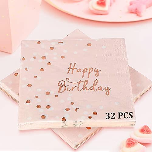Servietten Geburtstag Rosegold, 32 Stück Happy Birthday Servietten für Mädchen Frau Geburtstag Party Deko, 3-lagig Pink Papierservietten Rosa Gold Tischdeko Kinder Geburtstagsdeko (33 x 33 cm)