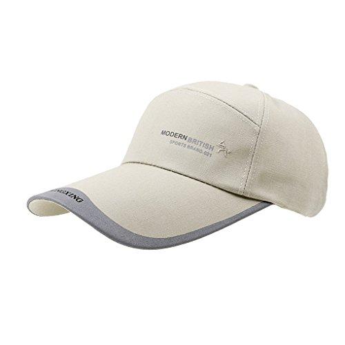Multifunzionale ampia visiera di protezione solare mesh traspirante cappello da sole berretto da baseball cappello leggero sport all'aperto pesca ciclismo campeggio tennis viaggio spiaggia cappello Topee UV50+ da uomo, Uomo, Beige/Cotton
