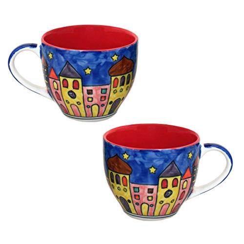 Gall&Zick Tasse Kaffeetasse Teetasse Geschirr Keramik Bemalt Bunt Set/2 (Rot, Groß)