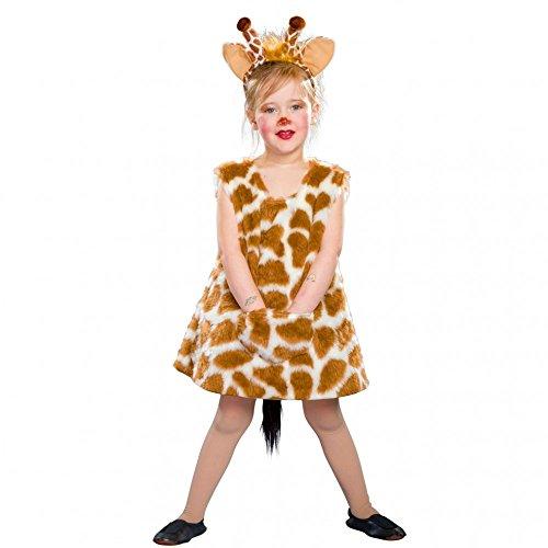 Kostüm Giraffen Mädchen Lena Kleid Haarreif Tierkostüm Fasching Giraffe (116/128)