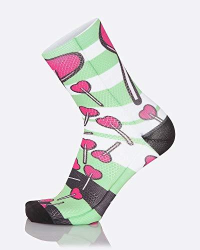 MB Wear Chaussettes Fun-Love Socken, Grün/Schwarz/Weiß/Rosa, FR : L (Taille Fabricant : L/XL (41-46))