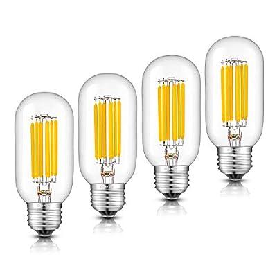 OMAYKEY 8W Dimmable LED Tubular Bulb 80W Equivalent 3000K Soft White 800LM E26 Base, Vintage Edison Tubular T45x110mm Clear Glass LED Filament Light Bulbs, 4 Pack
