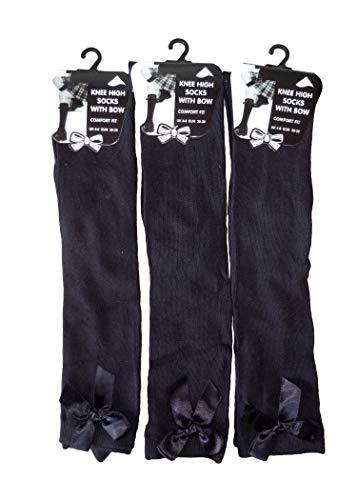 3 paar meisjes knie hoge meisjes school sokken met satijnen strik kinderen alle maten (UK schoen maat 4-6,5, zwart)