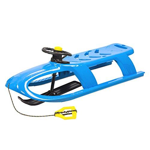 Prosperplast 2-Sitzer Bullet Control Kinderschlitten mit Lenkung Schlitten Kunststoff Lenkbar Zugseil (Blau)