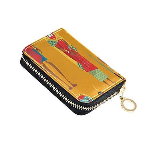 Tarjetero de Regalo Pareja Maasai Vestido Tradicional Tarjetero Compacto de crédito PU Cuero Cremallera Alrededor Tamaño Compacto Monedero Tarjetas para Mujeres Señoras Niñas Cartera de acordeón Mini