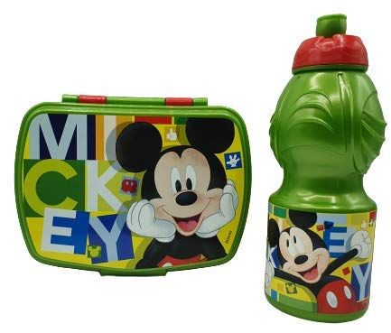 CM Pack 2pcs Botella de Agua plastico Infantil 400ml- Fiambrera sandwicheras para niños, cantimplora a Prueba de Fugas sin BPA (Verde-mik)