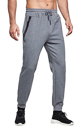 ZOXOZ Jogginghose Herren Baumwolle Sporthose Herren Trainingshose Männer Lang Fitness Hosen Herren mit Reißverschluss Taschen Grau S