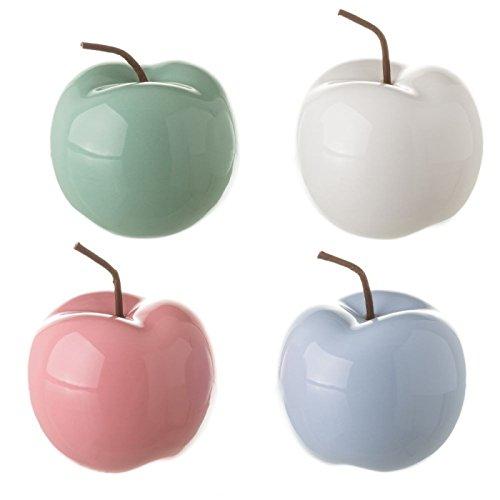 Dcasa - Manzana Ceramica Colores Decorativa Set 4 Pieza
