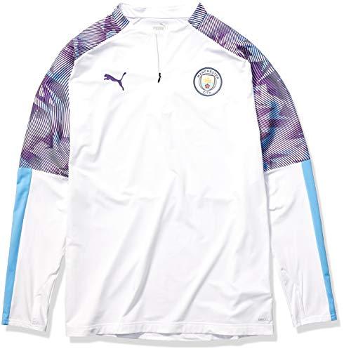 PUMA Men's Manchester City MCFC 1/4 Zip Top, Whiteteam Light Blue, XL