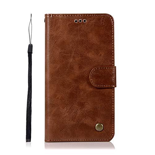 Für Lenovo K6 Note / K53a48 Hülle, Premium PU Leder Schutztasche Klappetui Brieftasche Handyhülle, Standfunktion Flip Wallet Case Cover - Braun