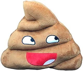 jeny Cojines Emoticono Cojín Almohada Redonda Emoticon Peluche Bordado Sonrisa Marron 35x33x10cm Sonrisa
