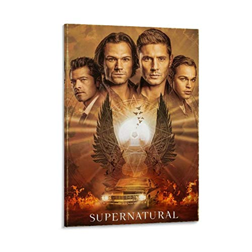 Ghychk Supernatural TV-Serie Poster Dean & Sam Winchester Ölgemälde, moderne Wanddekoration, dekoratives Kunstwerk für Schlafzimmer, Home Office, fertig zum Aufhängen, 50 x 75 cm
