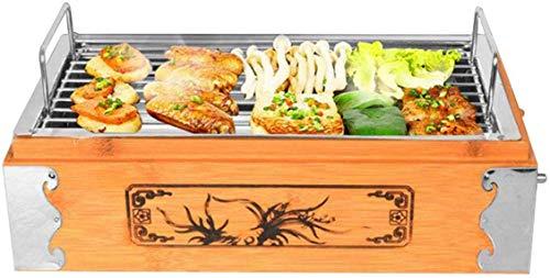 Wzmdd BBQ Grill houten doos gegrilde spies houtskool bakplaat Koreaanse Square Home Outdoor Barbecue Grill
