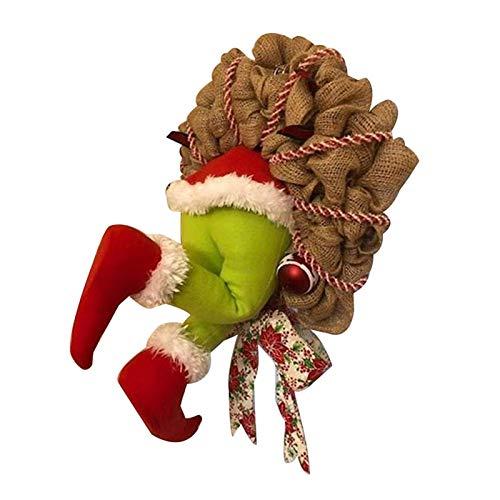 MEILEQI Guirnalda de la Navidad Decoracin Cmo el Grinch rob la Navidad de la Guirnalda de arpillera Super Lindo y Precioso Grandes Regalos for los Amigos (Color : L)