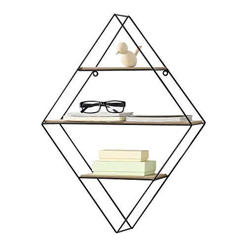 [en.casa] Wandrek diamant met 3 planken 47x12 x64 cm