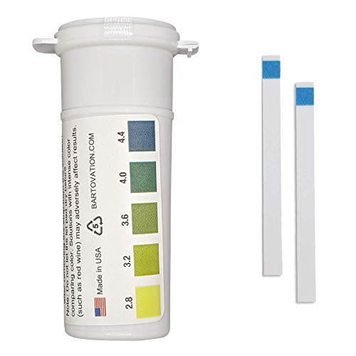 pH Test Strips for Wine Making, Homebrew, Acidity, 2.8 to 4.4 pH [Vial of 100 Plastic Strips]