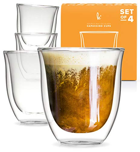 Glass Cappuccino Cups Double Walled Coffee Glasses Set of 4 - Clear Thermo Insulated Stackable Mugs, 6 oz
