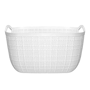 """Plastic Storage Basket with Handles Organization for Bathroom Kitchen College Dorm Caddy Pantry Closet Office Kid Play Area - White 12.8""""D x 10""""W x 7.3""""H"""