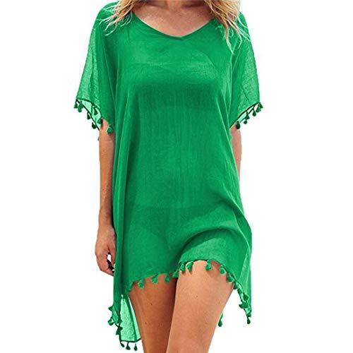 JMITHA Abito da Spiaggia Donna Bikini Beach Cover up Chiffon Nappa Costume da Bagno Copricostumi Mare Copricostume (One Size(XS-2XL), Verde Tassel)