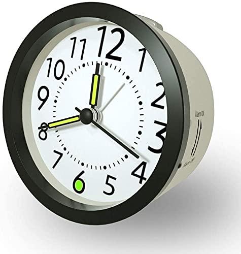 Reloj Despertador Analogico con función Snooze luz de Fondo, Sin Tintineo, Silencioso, Agujas iluminadas, Despertador fácil de Leer, a Pilas, Color Aleatorio (Negro o Rosa)