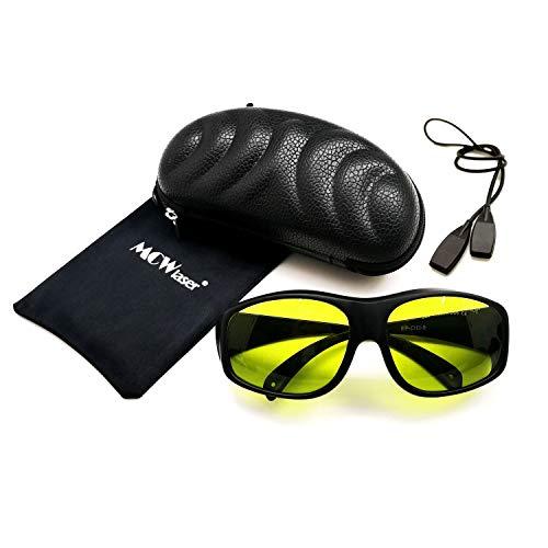 MCWlaser Gafas protectoras de seguridad láser Gafas 190-440 y 780-900nm, 900-1100nm, 10600nm Típico para 355nm 405nm 808nm 810nm 980nm 1064nm 1085nm 10600nm Tipo de absorción EP-17 Estilo 9