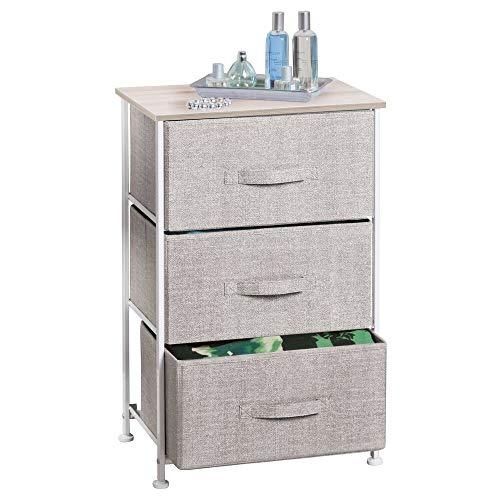 mDesign comodino in stoffa con 3 cassetti – Ottimo per le vostre camere da letto! – Ideale per riporre libri ed oggetti per la notte -Colore: beige