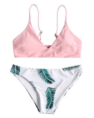 ZAFUL Damen Gepolsterter Bikini Set Bademode Badeanzug mit Blatt Pattern Zweiteilig Rosa Medium