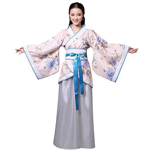 Xingsiyue Chinois Ancien Traditionnel Hanfu Performance sur scène Costume de Tang Robe de Danse pour Femmes (Bleu Blanc,54)
