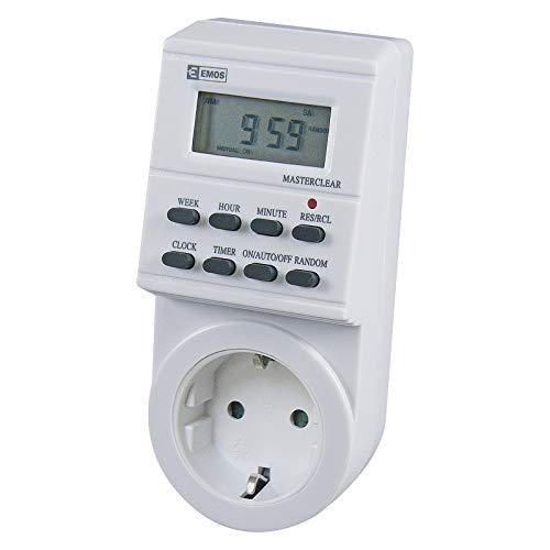 EMOS TS-ED1 digitale tijdschakelklok stopcontact Schuko, 8 programma's, kinderbeveiliging, accu-backup