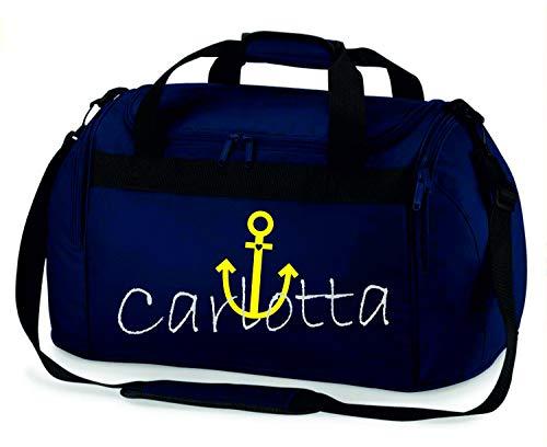 minimutz Sporttasche Junge & Mädchen   Motiv Anker & Namensdruck personalisiert & Bedruckt   Reisetasche Kindersporttasche Kindertasche zum Umhängen für Kinder