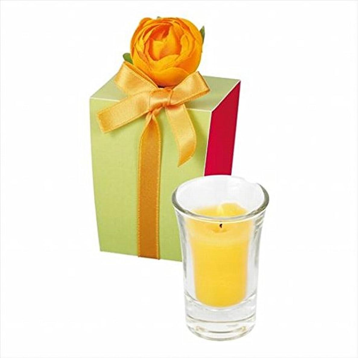 天窓分析的な助けになるカメヤマキャンドル(kameyama candle) ラナンキュラスグラスキャンドル 「 イエロー 」