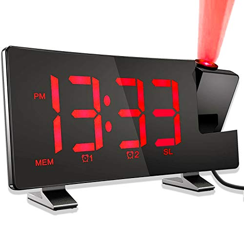 Sveglia con Proiezione, Sveglia Digitale da Comodino, Radiosveglia con Proiettore, FM Orologio, Porta USB, Display a LED Curvo da 7,1   con Dimmer, Doppio Allarme, Snooze, 12 24 H(Senza Adattatore)