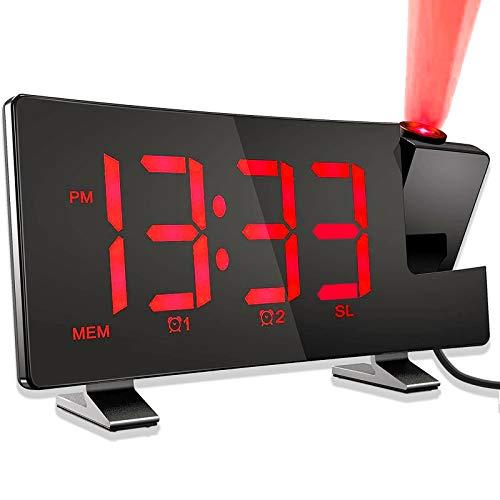 Sveglia con Proiezione, Sveglia Digitale da Comodino, Radiosveglia con Proiettore, FM Orologio, Porta USB, Display a LED Curvo da 7,1'' con Dimmer, Doppio Allarme, Snooze, 12/24 H(Senza Adattatore)