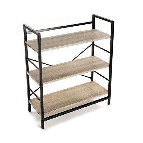 Versa 20880012 Estantería pared - Madera y Metal, 90x32x76cm, 3 estantes,Oficina